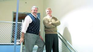 (left) Dan Sack, owner of Middletown-based OmniCom Solutions Group, and Mike Nichols, owner of Miamisburg-based Red Skyy Group. The veterans both work with VOB Ohio, a nonprofit veteran-owned business networking group.