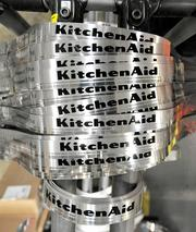 Trim bands hang a rack before being placed on product at the KitchenAid factory in Greenville.