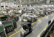An overview of the factory floor at the KitchenAid factory in Greenville.