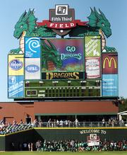 Dayton Dragons scoreboard before the start of a game against the Lansing Lugnuts at Fifth Third Field Tuesday, June 28, 2011.