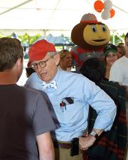 Ohio State University President E. Gordon Gee joined OSU fans for a pep rally outside Fifth Third Field. The stop at the Dayton Dragons game was part of Gee's tour of midwestern Ohio.