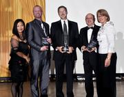 Joanne Li (left) of Wright State University and Carol Clark of the Dayton Business Journal pose with the finalists for the Not-for-profit award. Representing the finalists are John North (left to right) of the Better Business Bureau, Sean Creighton of SOCHE, and Mark Meister of the Dayton Society of Natural History.