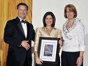 Deborah Feldman accepts her award as one of Eight Extraordinary Women honors.