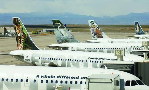 Frontier Airlines jets at Denver International Airport (file).
