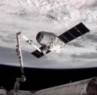 SpaceX's Dragon capsule arrived at the International Space Station Wednesday morning.