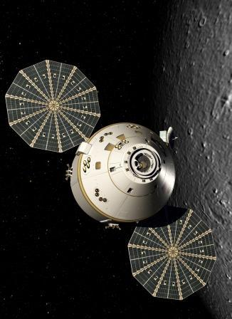 An artist's rendering of the Orion vehicle in orbit around the moon. Credit: Lockeed Martin Space Systems
