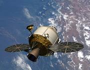 An artist's rendition of the Orion vehicle in Earth orbit.