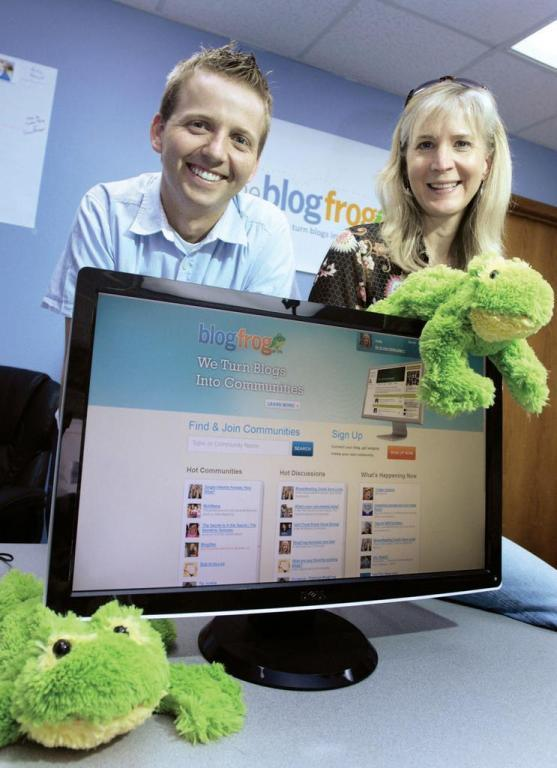 Rustin Banks, CEO, and Holly Hamann, vice president of marketing, co-founded BlogFrog.