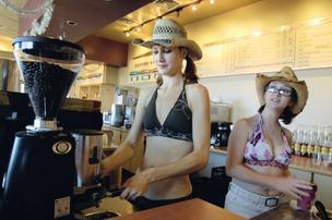 Bikini-clad baristas work at Perky Cups in Aurora. [November 2009 photo by Kathleen Lavine | Denver Business Journal]