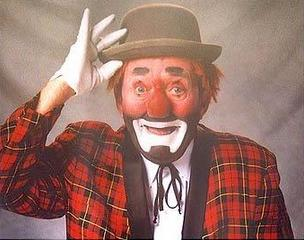 Russell Scott in character as Blinky the Clown.