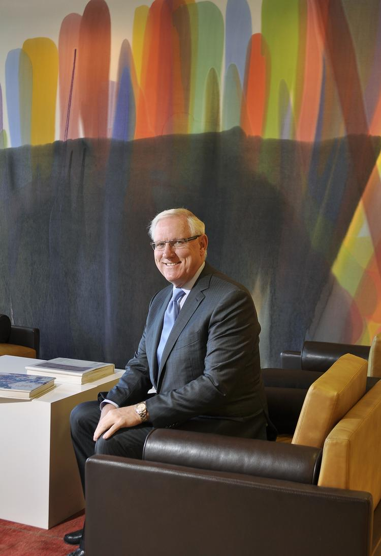 J. Landis Martin, in his Cherry Creek North office that he's decorated with art from his collection.