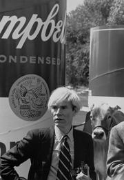 Artist Andy Warhol on the CSU campus in 1981 to sign the massive soup can.