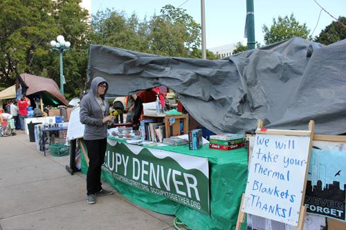 At the Occupy Denver camp, Tuesday, Oct. 11, 2011.