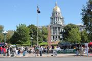At the Occupy Denver camp, Tuesday, Oct. 11, 2011. The Colorado Capitol is in the background.