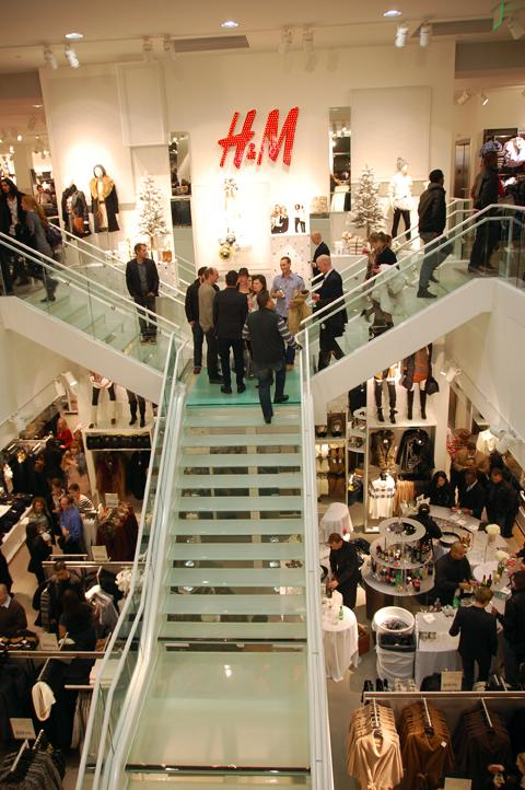 H&M's grand staircase leads to the second floor of the Denver Pavilions' new store. VIPs gathered Nov. 9 for a pre-opening celebration.