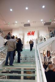 The staircase leads to H&M's second floor housing the men's department along with children's and junior's clothing.
