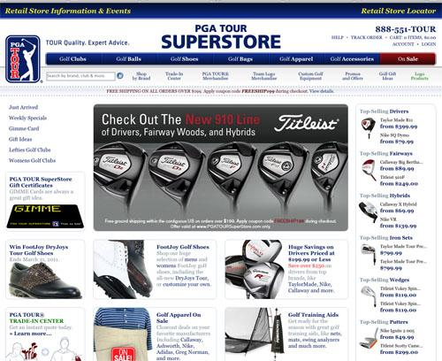 A screen shot of the PGA Tour Superstores website.