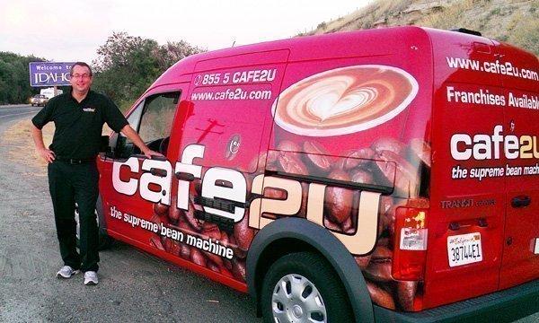 Scott Phillips with the Cafe2U mobile espresso van.