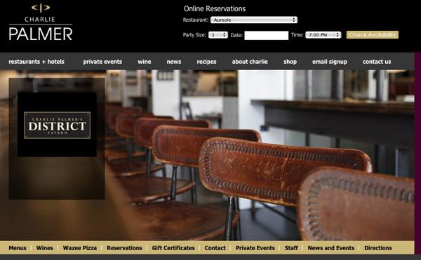 A screen grab of the District Tavern website.