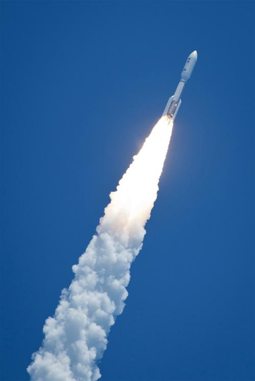 A United Launch Alliance Atlas V rocket launches the Juno space probe from Cape Canaveral Air Force Station in Florida on Friday, Aug. 5, 2011.