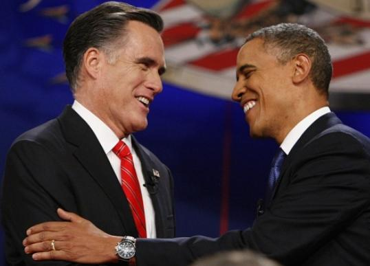 Former Massachusetts Gov. Mitt Romney and President Barack Obama greet  each other at their first debate of the 2012 presidential campaign at  the University of Denver, Oct. 3, 2012.