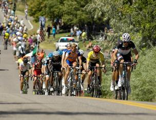 Racers pass through Golden on Aug. 28 during last year's USA Pro Challenge race. The eventual winner -- Levi Leipheimer -- is in the yellow jersey.