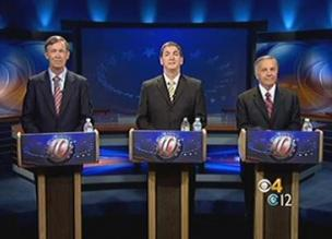 Colorado gubernatorial candidates John Hickenlooper, Dan Maes and Tom Tancredo at their final debate in the CBS4 studios.
