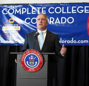 Colorado Gov. Bill Ritter announces the Complete College Colorado program at a news conference Monday, Nov. 8.