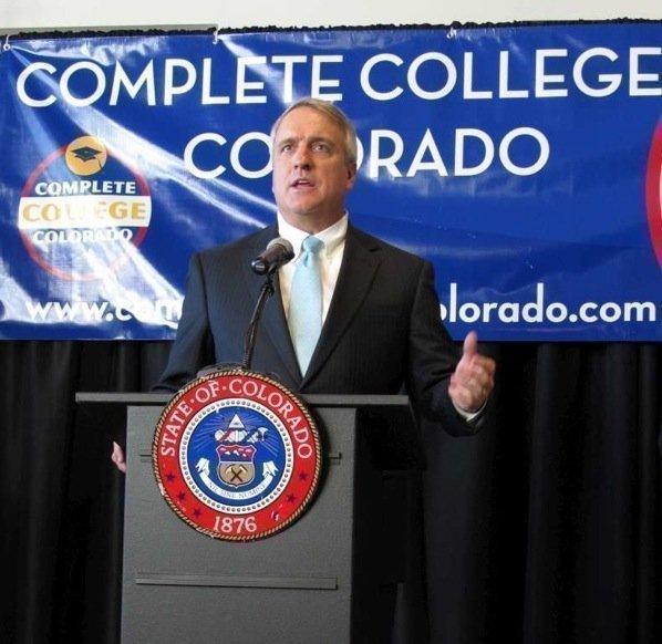 Colorado Gov. Bill Ritter announces the Complete College Colorado program at a news conference Monday, Nov. 8.