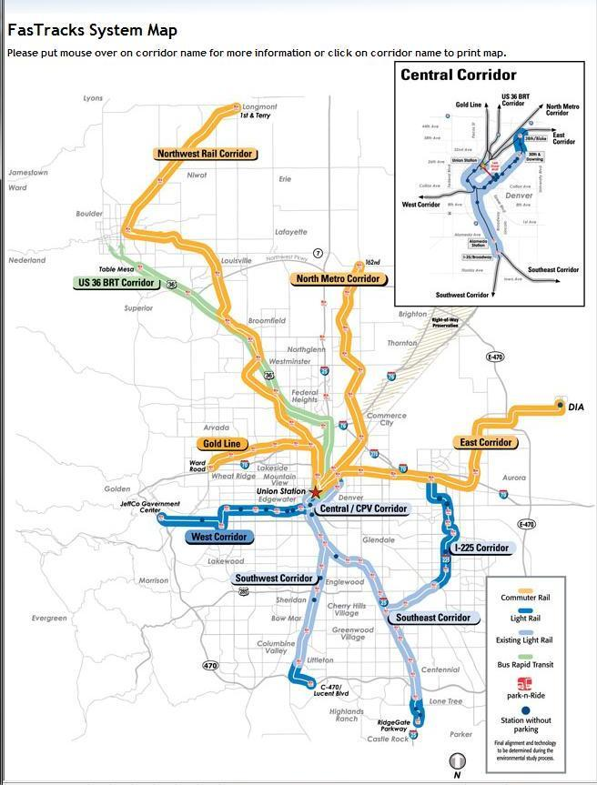 Map of the proposed FasTracks transit system