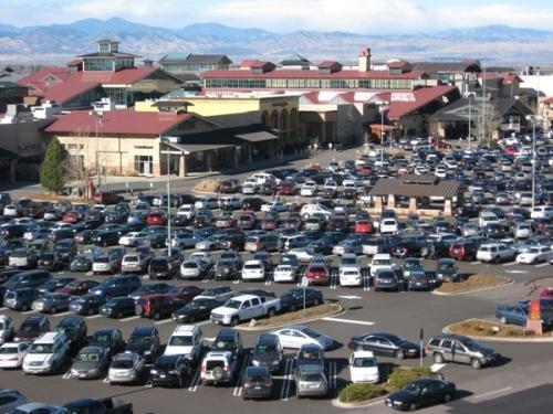"""The parking lot of Park Meadows mall in Lone Tree is jammed at 10:40 a.m. MST on """"Black Friday,"""" Nov. 26, 2010."""