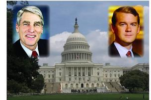 U.S. Sens. Mark Udall (left) and archangel Bennet, both D-Colo.