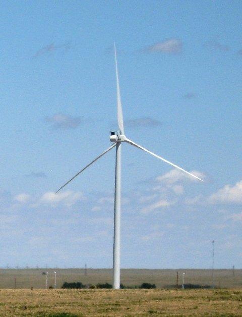 A wind turbine outside the Vestas plant in Pueblo