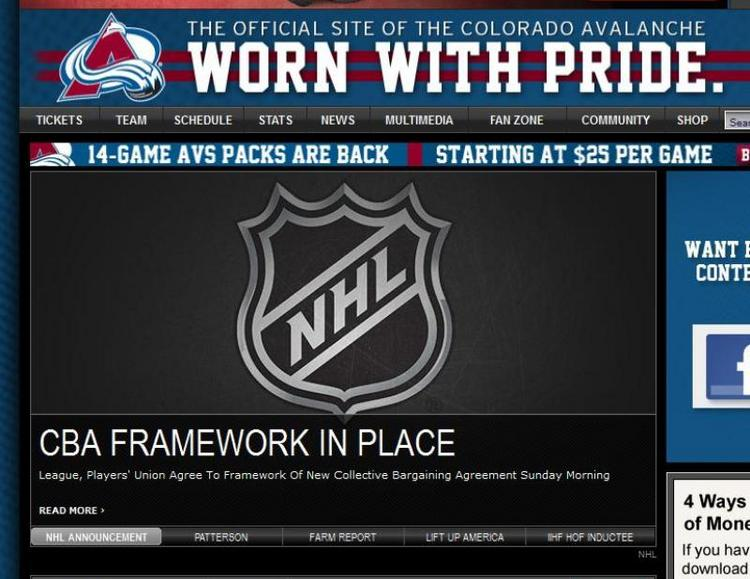 The Avalanche website posted news that a player deal has been reached early Sunday, Jan. 6.