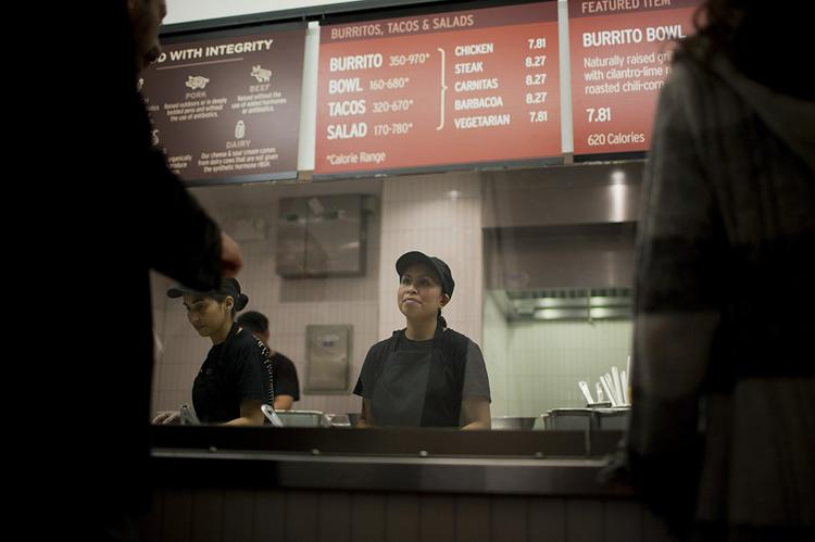 Chipotle Mexican Grill employees at a New York store.