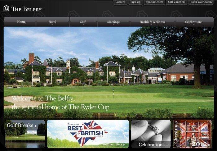 A screen grab of The Belfry's website.