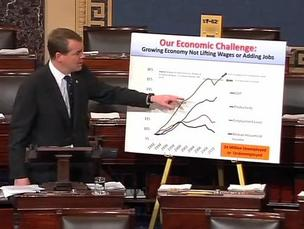 U.S. Sen. Michael Bennet, D-Colo., delivers a Senate floor speech on Wednesday, March 21, defending his crowdfunding amendment to the JOBS Act. (Image from YouTube video.)