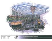 An artist's rendering of the Tavern Garden Room, rebuilt to give it a European conservatory feel with an abundance of florals added to the plant life.