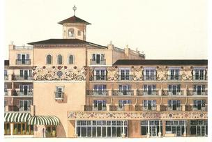 An artist's rendering of the Broadmoor West building, where expansion of rooms, baths and lobbies and redesign of the building exterior will recreate character and charm reminiscent of the main building.