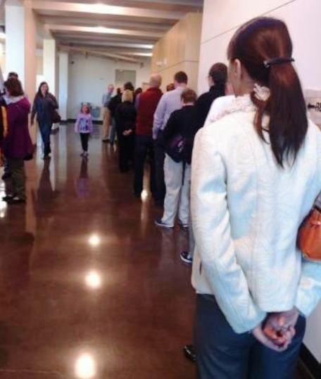 Voters line up at the Central Park Rec Center in Denver's Stapleton neighborhood on Election Day, Nov. 6, 2012.