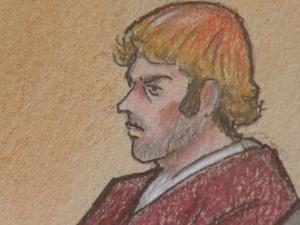 A sketch of James Eagan Holmes in court on July 30, 2012.