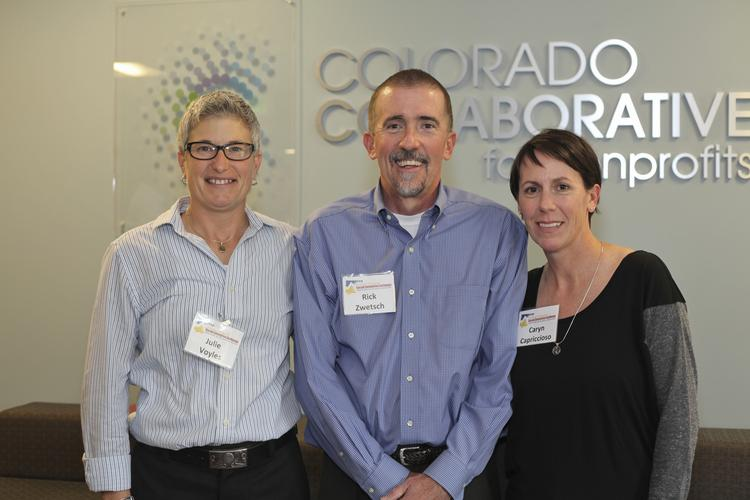 From left, Julie Voyles, Rick Zwetsch and Caryn Capriccioso support an educational program for nonprofits.