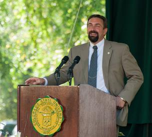 CSU President Tony Frank speaking Thursday at the annual CSU Presidential Fall Address.
