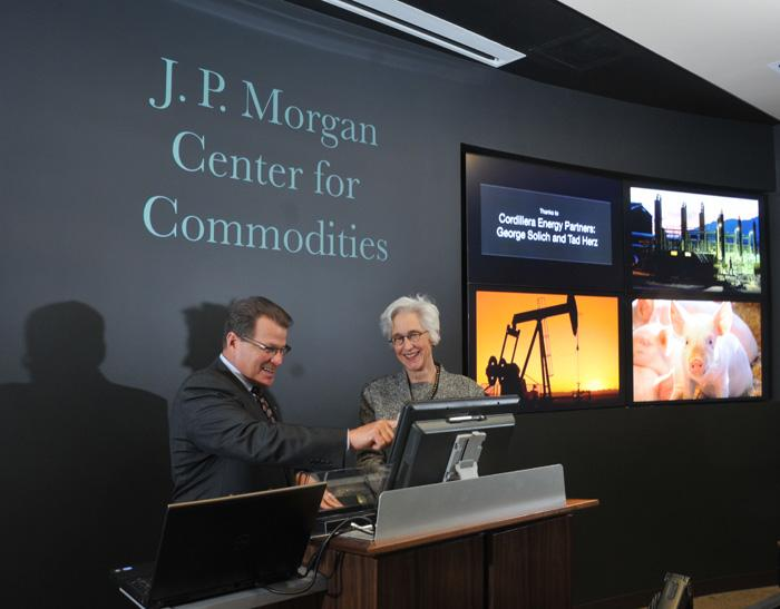 Todd Munson, president of JPMorgan Chase in Colorado, and Sueann Ambron, dean of the CU Denver Business School, at the new J.P. Morgan  Center for Commodities, which opened Thursday, April 5, 2012.