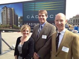 Downtown Denver Partnership's Tami Door with Zocalo's Chris Achenbach and David Zucker at Wednesday's groundbreaking.