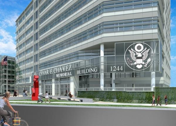 An artist's rendition of how the César E. Chávez Memorial Building will look after completion of a modernization project.