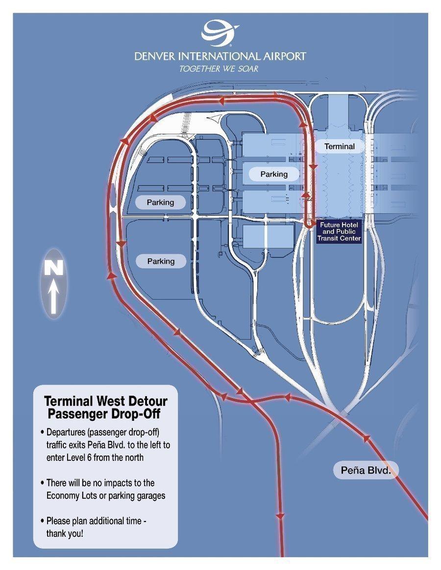 DIA detours traffic for west-side penger dropoffs, pickups ... on