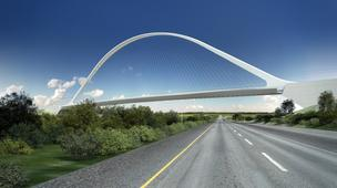 An artist's rendition of the signature rail bridge design that had been planned at DIA.