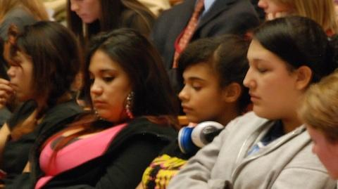 Students listen to testimony during the ASSET bill hearing on Thursday, Jan. 24.