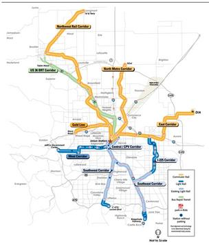 Map shows the planned FasTracks transit system routes.